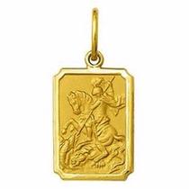 Medalha 2,9cm Sao Jorge Ouro 18k Pingente Frete Gratis