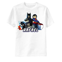 Camiseta Lego Batman E Super Man - Infantil Personalizada