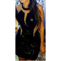 Vestido De Fiesta Negro Corto Lentejuelas Y Transparencia