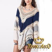 Blusa Estilo Hippie Crochet Y Bambula Importada Art 3900