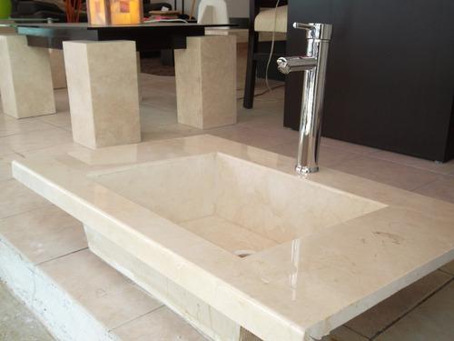 Lavabo de marmol crema marfil 3 en mercado libre for Lavamanos de marmol