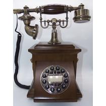 Telefone Retro De Mesa Vintage Gaveta Madeira