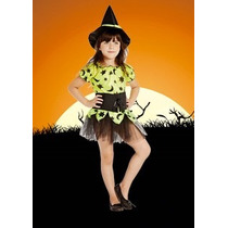 Disfraz Bruja Fluo Halloween Con Gorro Para Nena