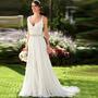 Vestido De Noiva Longo Decote Praia Casamento Ao Ar Livre