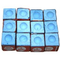 Giz Azul Comum 7 Belo Para Taco De Sinuca Bilhar 12 Peças