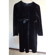 Vestido Niña Negro Terciopelo Con Moño Talla-12 Años! Vn47
