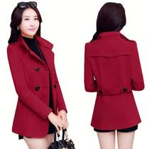 Sobretudo Feminino Double Coats Em Lã De Algodão 7524