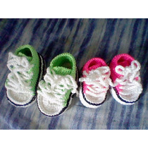 Zapatos Tejidos Crochet Bebés Tipo Escarpines Mod. Converse