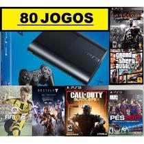 Ps3 Super Slim 500 Gb + 80 Jogos Digitais No Hd + Gta 5