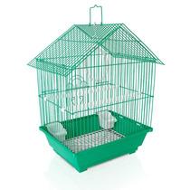 Gaiola Chalé Verde Chalesco Para Qualquer Pássaro