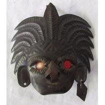 Mini Máscara Africana Em Metal Com Suporte Para Parede - A10