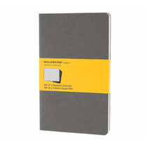 Caderno Moleskine Cahier Quadriculado Cinza Kit C/3 G - 4244
