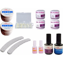 Kit Unhas Gel Acrigel Gel, Pó, Tips, Top Coat, Primer, Cola