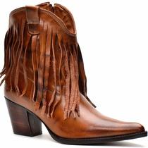 Bota Feminina Franja /texana/cano Baixo - Capelli Boots