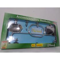 Kit Acessorios Banheiro Inox 5 Peças