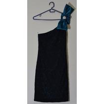 Vestido De Fiesta De Noche Negro Con Azul Talla Unica