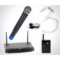 Microfone S/ Fio Tsi Ms215 Cli Uhf Duplo Mão E Cabeça/lapela