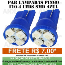 Par Lâmpada Pingo 4 Led Azul T10 Luz Farolete Teto Placa