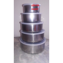 Conjunto Potes Herméticos - Aço Inox 5 Pçs C/tampa