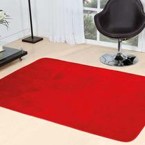 Tapete Vermelho Em Pelúcia Para Sala Quarto Liso 2m X 1,40m
