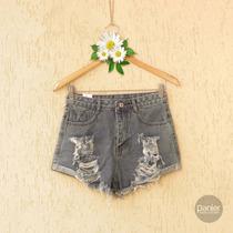 Fotos Reais | Short Feminino Destroyed Cos Alto Cintura Alta