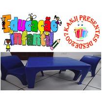 Mesinha Infantil Azul Escuro Com 2 Cadeiras Cadeirinha Mesa