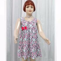 Vestido Infantil Estampado Com Laço