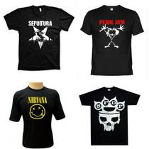 Camisetas Bandas Rock - Camisas Nirvana, Linkin Park, 5 Fdp
