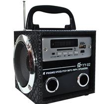 Radio Fm Portátil Mp3 Entrada Usb Pen Drive Cartão Sd Ou P2