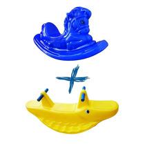 Gangorra Jacaré Amarela+cavalinho Azul-playground Tdas Cores