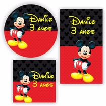 Kit 120 Unid Rótulo Adesivo Personalizado Mickey 2 Festa