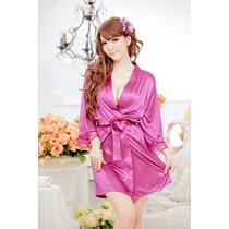 Bata De Dormir Sexy Kimono Lenceria Incluye Hilo