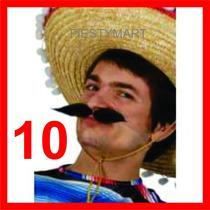 10 Bigotes Postizos Tela Eventos Fiestas Boda Dj Accesorios