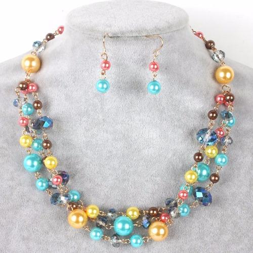 Set Collar Y Aretes De Perla Y Cristal Moda Bisuteria Fina , $ 125.00 en Mercado Libre