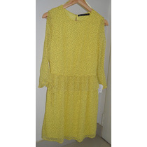 Vestido Corto Mujer Zara Amarillo Talle M Nuevo Con Etqiueta