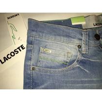 Jeans Lacoste Hombre Mezclilla Placa Metálica Pantalón