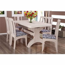 Conjunto De Jantar 6 Cadeiras Claudia - Base Taça C/ Tampo M