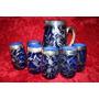 Antiguo Juego Cristal Plata 925 Azul Cobalto