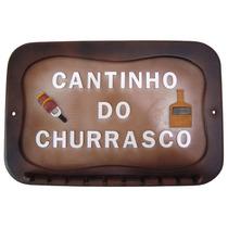 Porta 10 Espetos Placa Suporte Cantinho Churrasco Fr.grátis