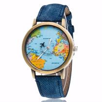 Reloj Pulsera Moda Mapa Mundo Y Avión 2016 Viaje Mundial