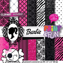 Kit Imprimible Pack Fondos Barbie Clipart