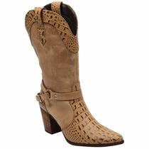 Bota Country Texana Feminina Couro Crocodilo Madeir Escrete