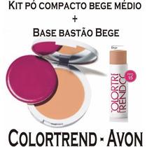 Kit Colortrend Avon Base Bastão Bege + Pó Compacto Bege Méd