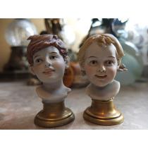 Par De Cabezas De Ni~os Fabricadas En Porcelana Italiana