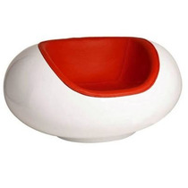Poltrona Pastil Chair Fibra Vidro Branca Vermelha