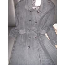 Oferta Elegante Abrigo Sobretodo Negro. Importado Talla M