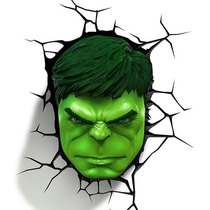 Lampara Para Pared 3d Cabeza De Hulk Marvel Disney