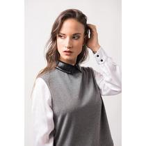 Blusa Camisa Gris Combinada Seda Blanca /charol Negro Giacca