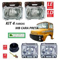 Kit 4 Farol Caminhão Mb Cara Preta 1313 1513 2013 2213