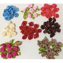 Flor Rosa Fita De Cetim Rococó - Cores Variadas 100 Unidades